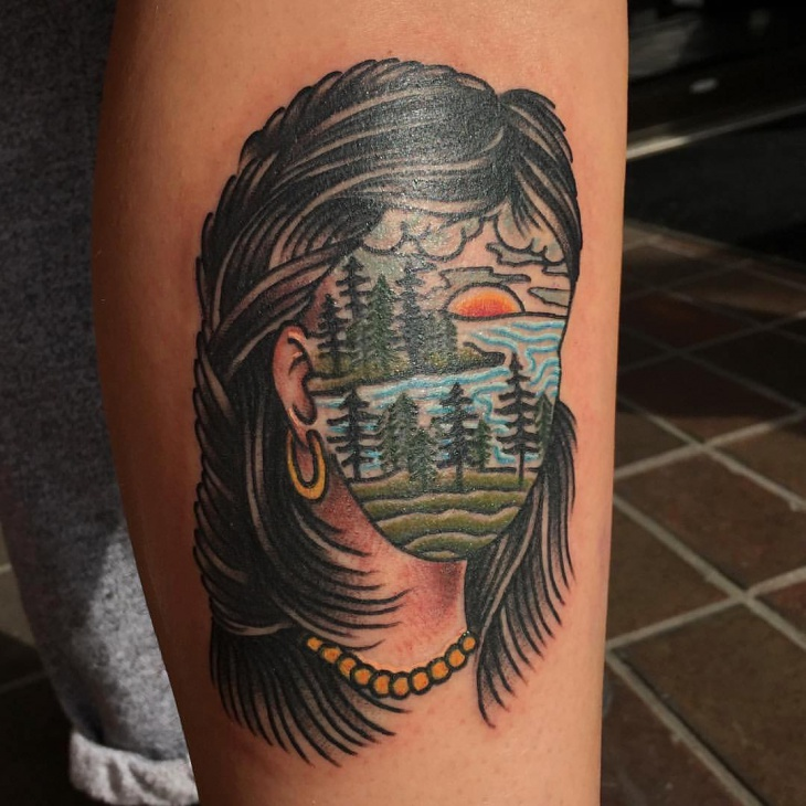 beautiful pine trees tattoo