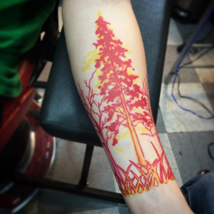 red pine tree tattoo