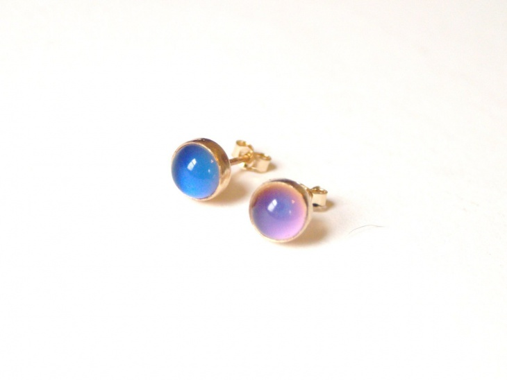 gold mood stone earrings