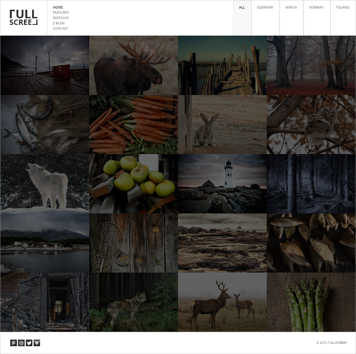 full screen photography joomla template