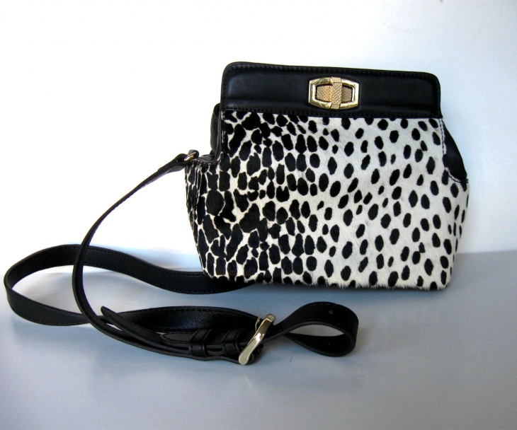 black and white animal print handbag