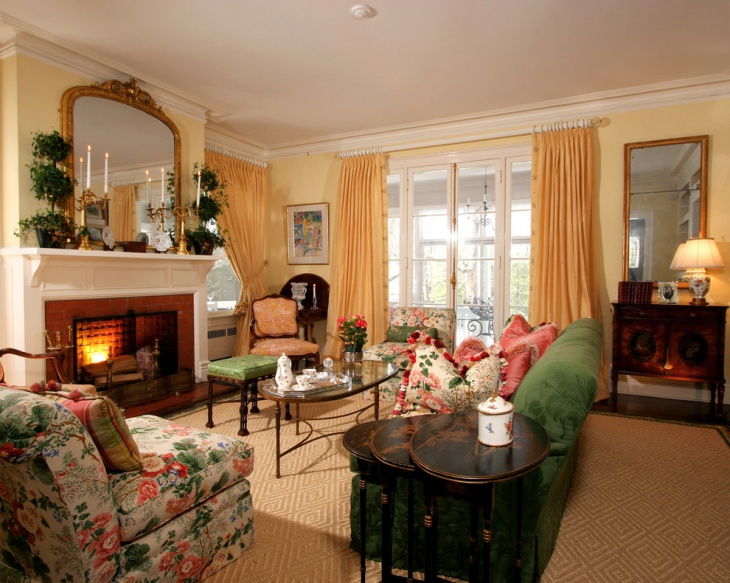 antique living room fireplace idea