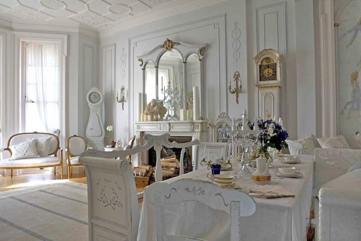 white antique living room decor