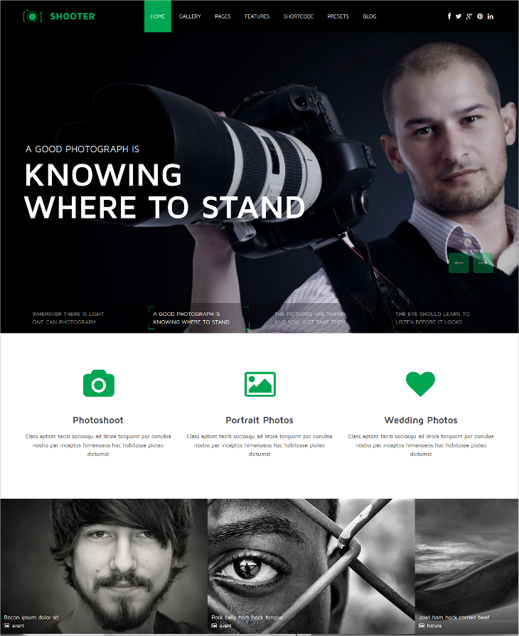 Clean Photography Portfolio Joomla Template