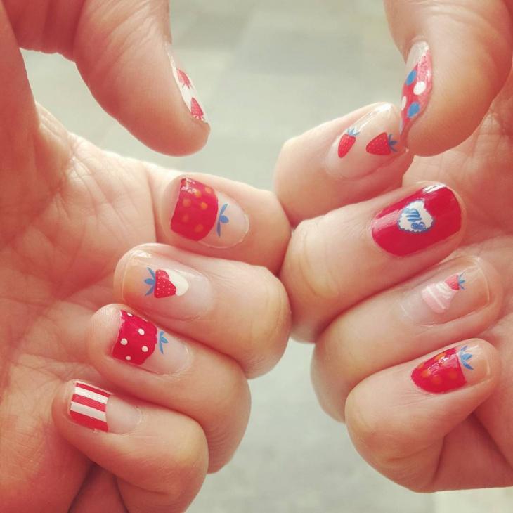 strawberry shortcake nail design