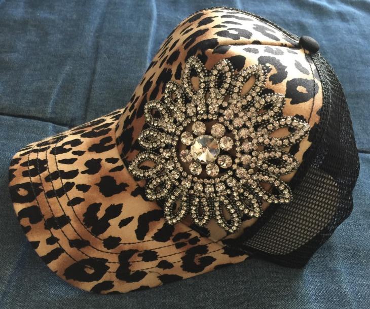 Leopard Print Bling Hat