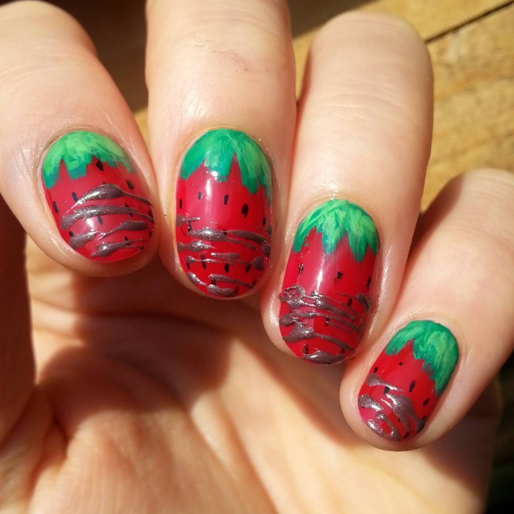 Chocolate Covered Strawberry Nail Art