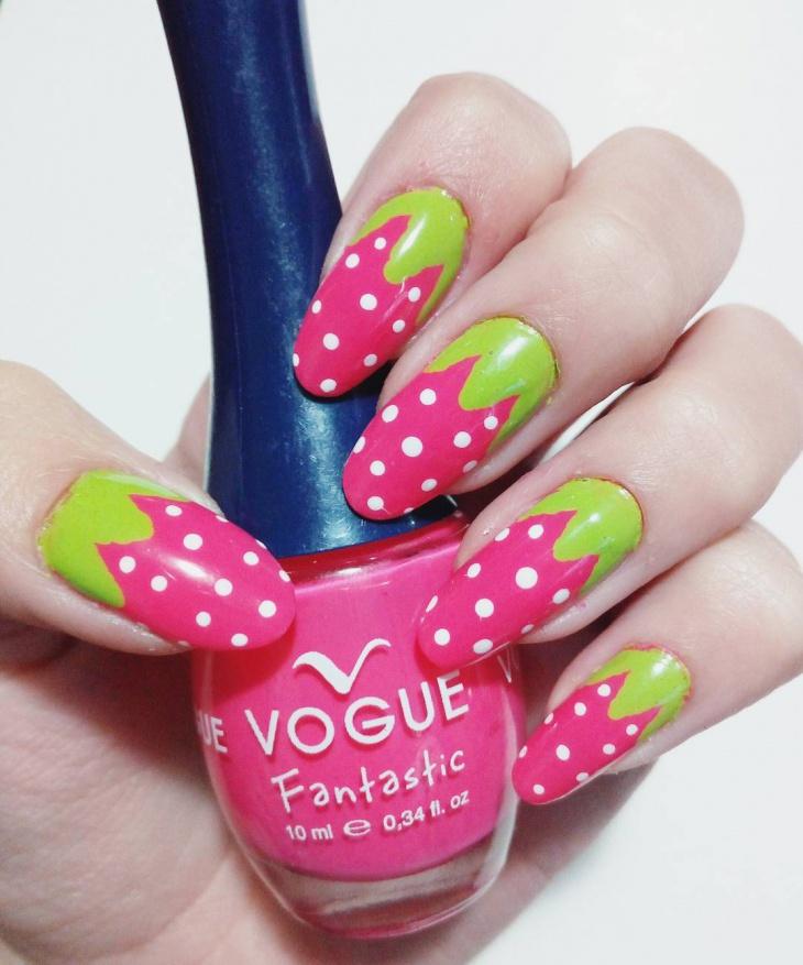 pink strawberry nail design
