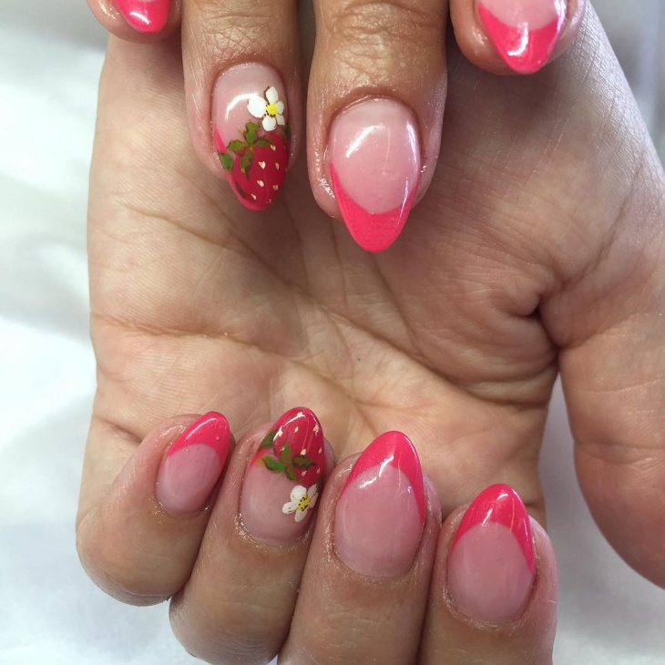 french tip strawberry nails