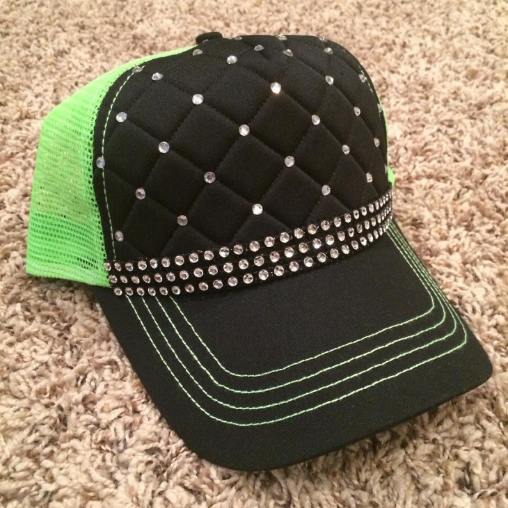 Green and Black Bling Hat