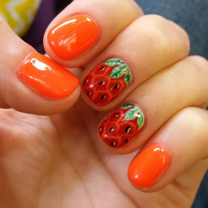 strawberry gel nail design