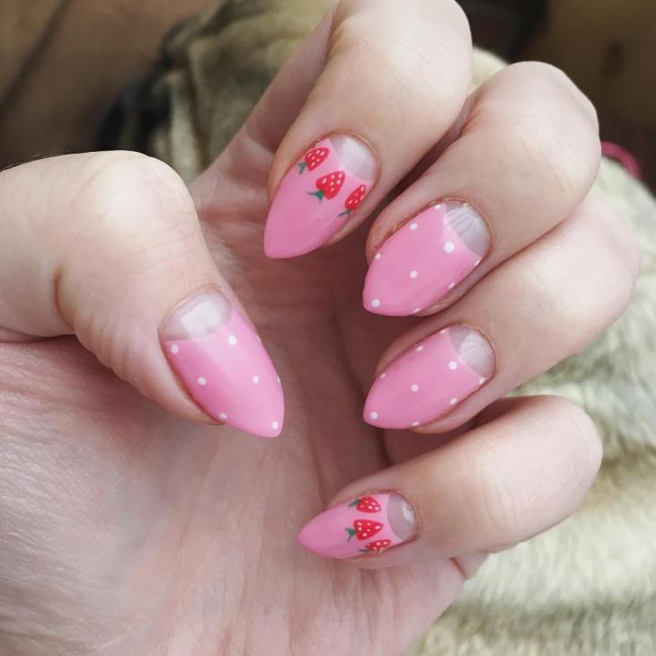 pastel strawberry nails