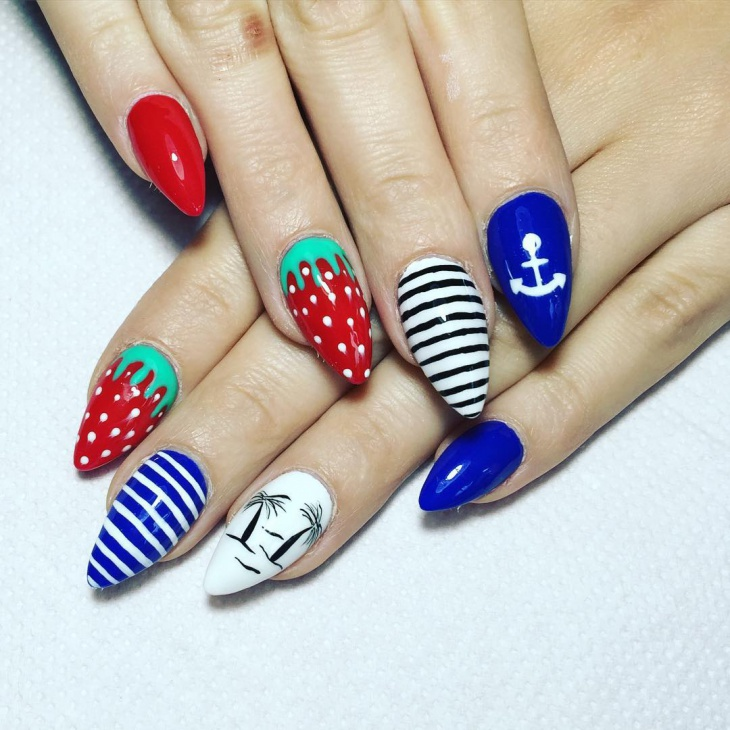 Striped Strawberry Nail Design