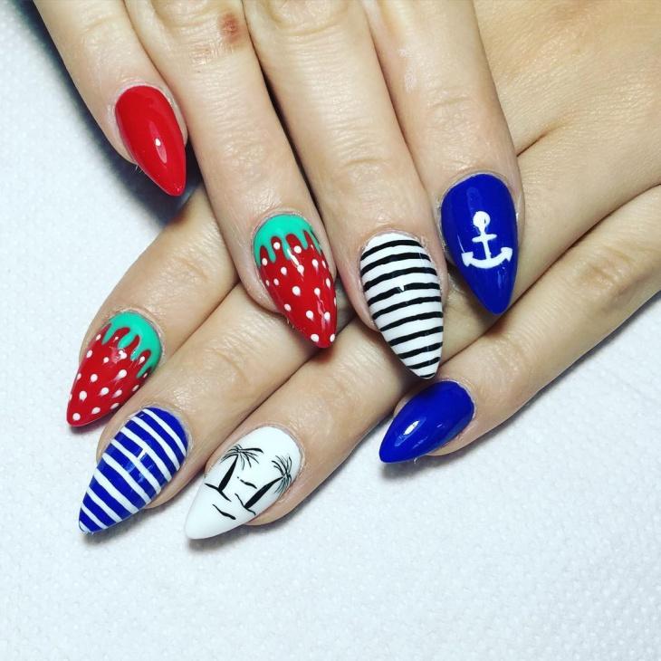 striped strawberry nail design