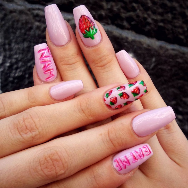 Long Strawberry Nails