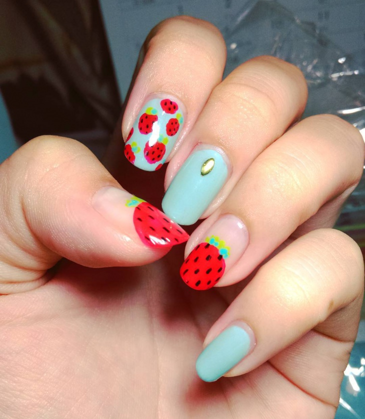 Teal Strawberry Nail Art