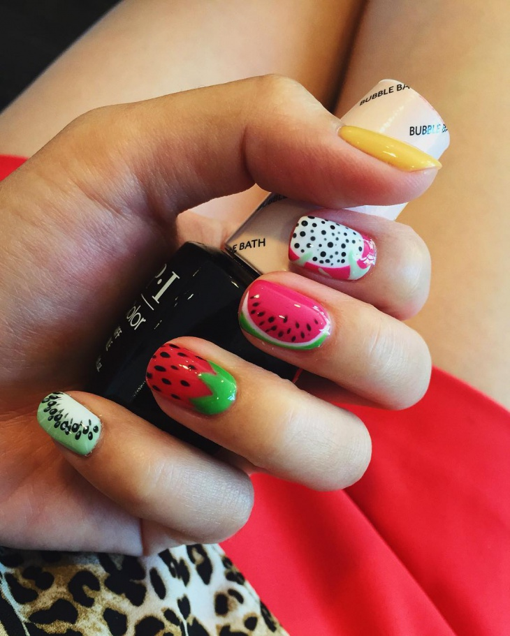 leopard strawberry nail art