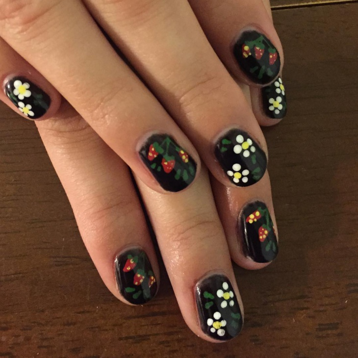 Black Strawberry Nail Design
