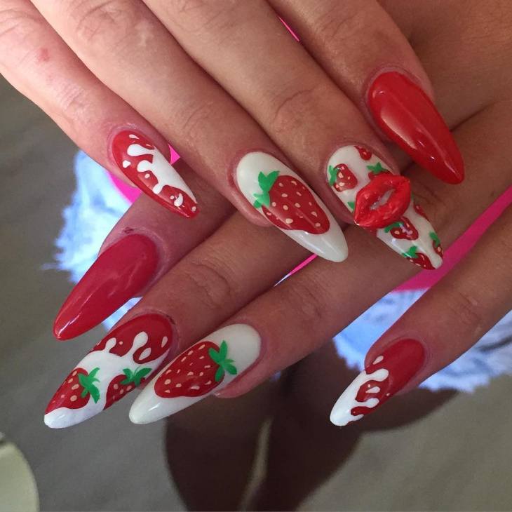 Sharp Straberry Nail Art