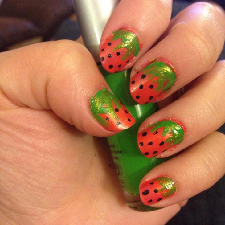 21+ Strawberry Nail Art Designs, Ideas