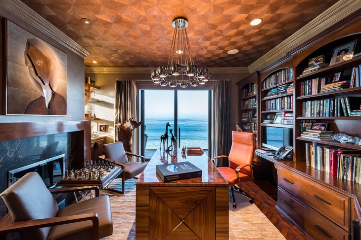 classic home office bookshelves idea