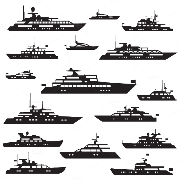set of yacht icons