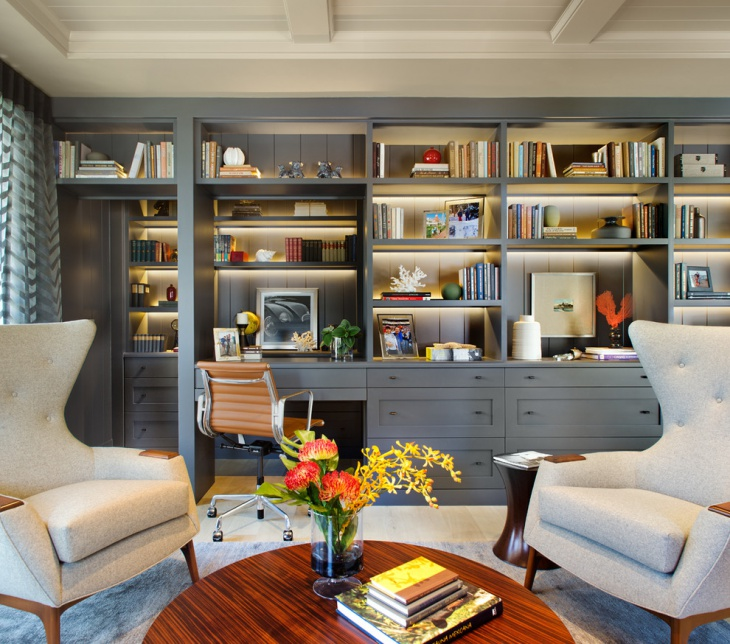 Beau Gray Home Office Bookshelves. One Wall Bookshelves Idea