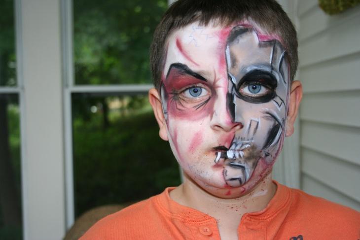 dracula half face makeup