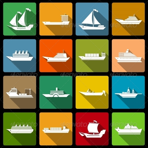 boat and ships flat icons