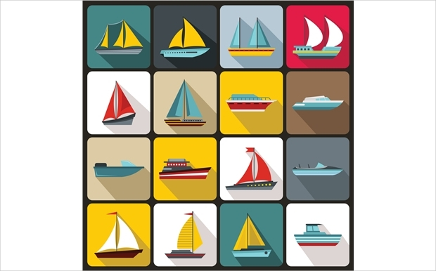 ship and boat flat icons