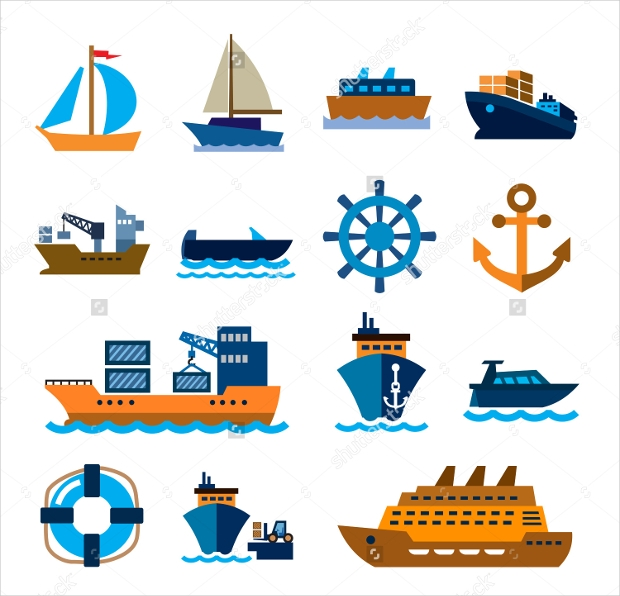 vector color boat and ship icons