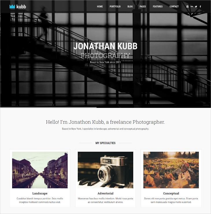 HTML5 Photography & Magazine Theme