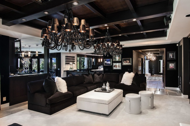 Black Chandelier in Living Room