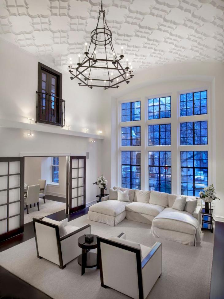 loft living room iron chandelier idea