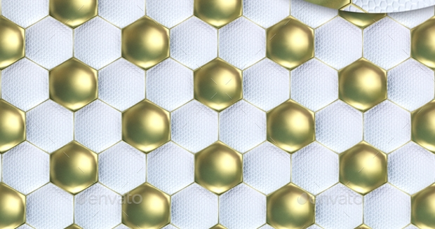 White and Gold Soccer Ball Texture