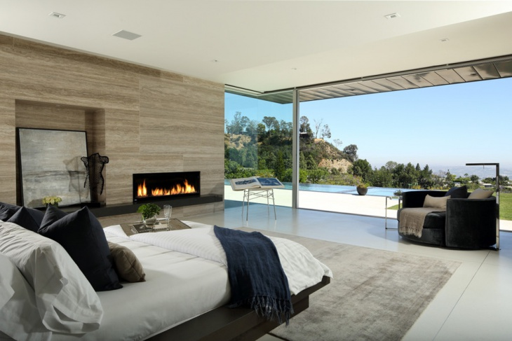 poolside bedroom with fireplace