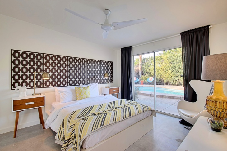 contemporary poolside bedroom