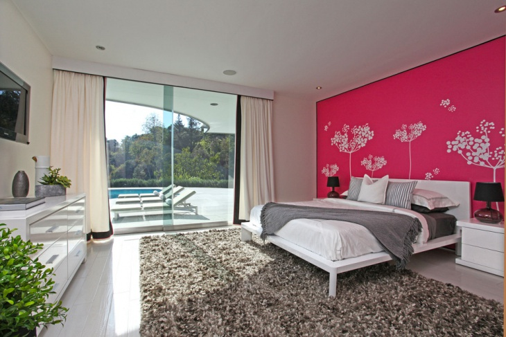 Transitional Poolside Bedroom
