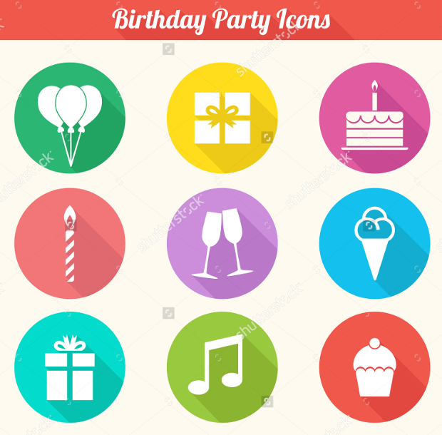 birthday party icons collection