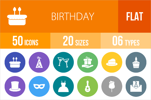 birthday party themed flat icons