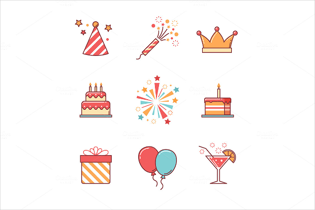 collection of colourful birthday icons with long shadow effect