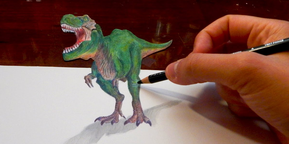 3d dinosaur drawing