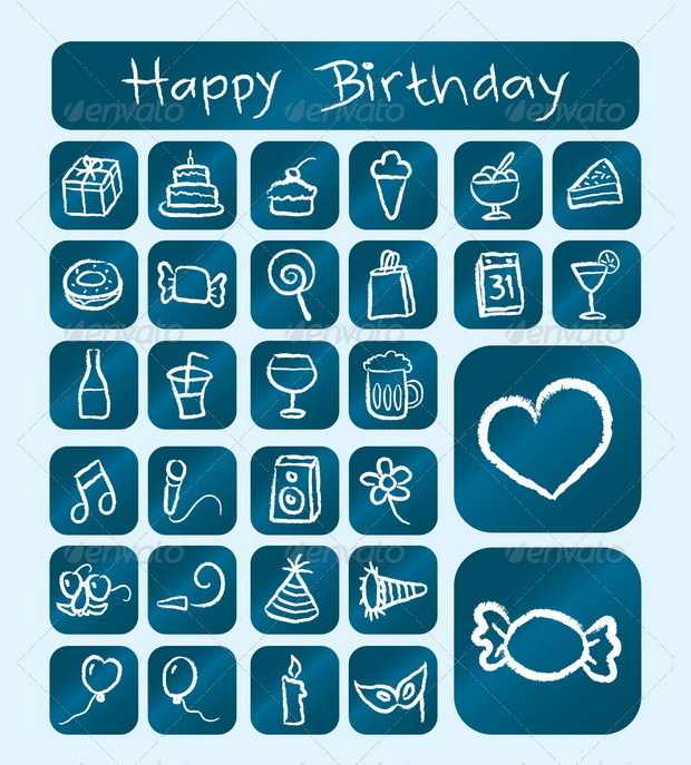 birthday icons chalk drawing style