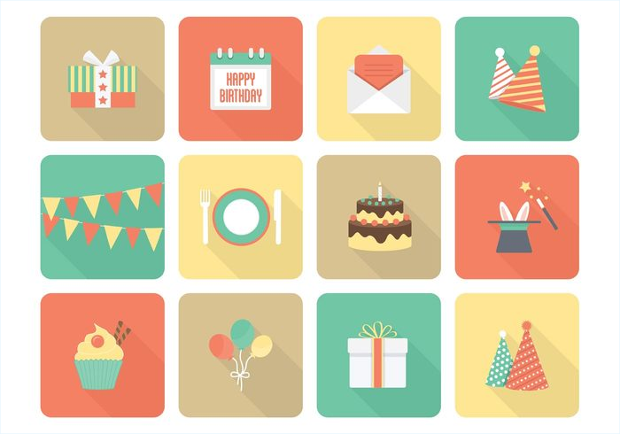 free vector birthday flat icons