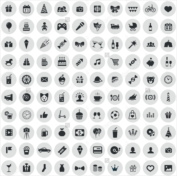 black on circle gray background birthday icons