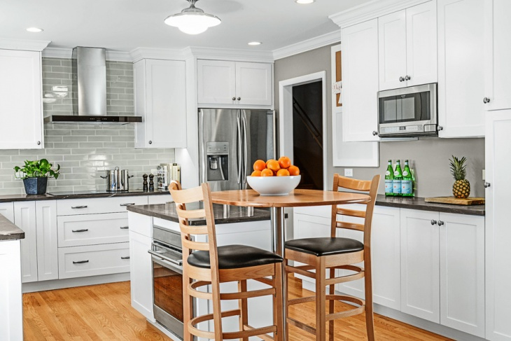 transitional small space kitchen cabinets
