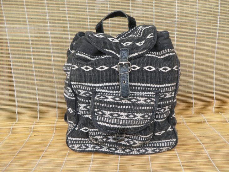 black and white tribal backpack