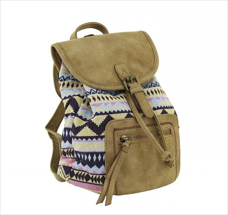 tribal leather backpack