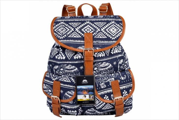 blue and white tribal backpack