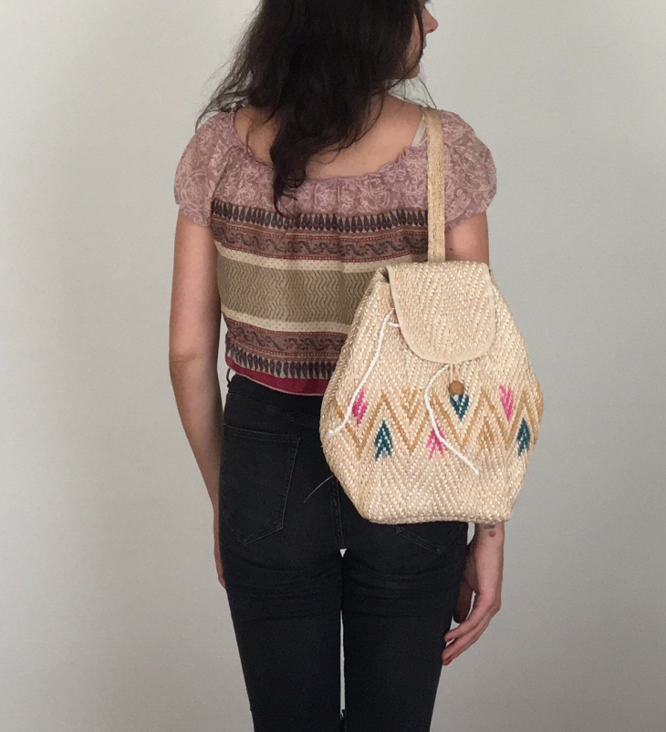 tribal design woven backpack